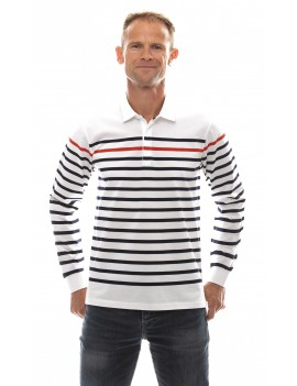 Marinière homme col polo manches longues blanche