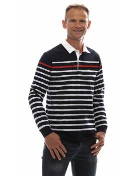 Polo marinière homme coton jersey manches longues bleu marine