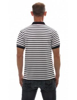 Polo marinière homme manches courtes blanche
