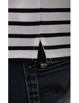 Polo marinière homme coton piqué manches courtes blanche
