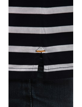 Polo marinière homme jersey coton manches courtes bleu marine