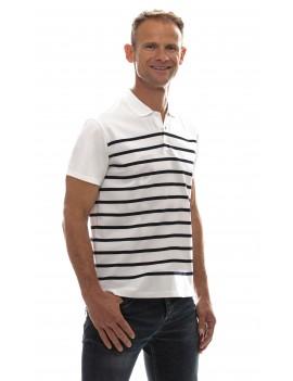 Marinière homme jersey coton col polo manches courtes blanche