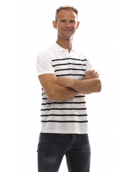 Polo marinière homme jersey coton manches courtes blanc bleu