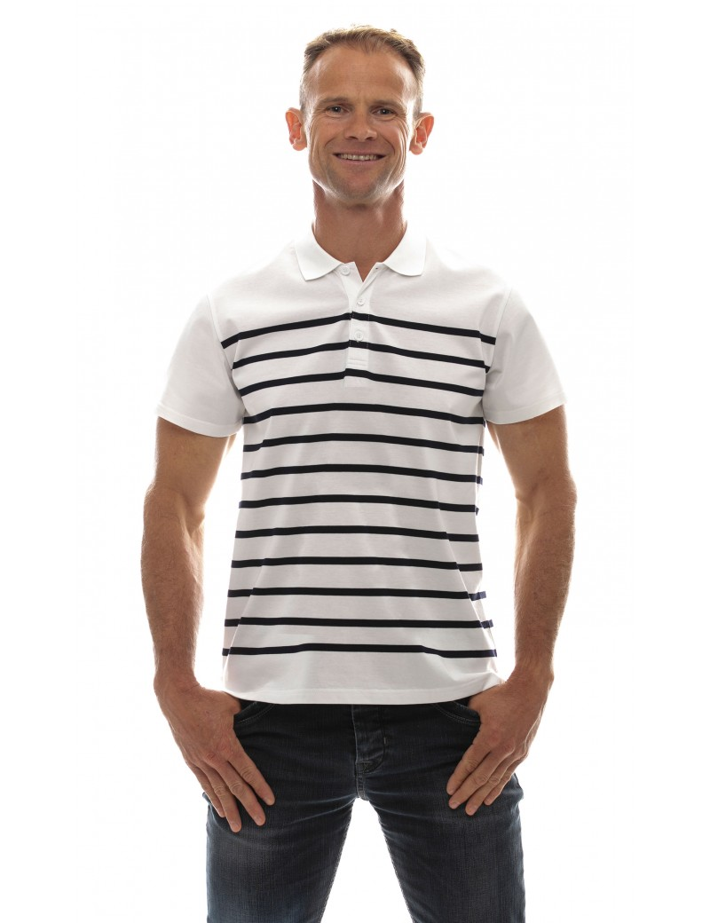 Marinière homme jersey col polo manches courtes blanche