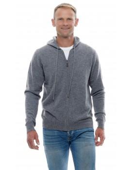 Hoodie gilet capuche zippe en cachemire homme gris