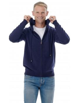 Hoodie gilet capuche zippe homme cachemire bleu marine
