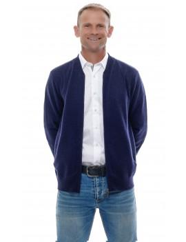 Gilet cardigan cachemire homme col teddy zippé bleu marine