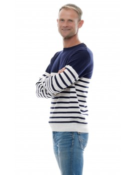 Pull marin rayé homme en cachemire col rond