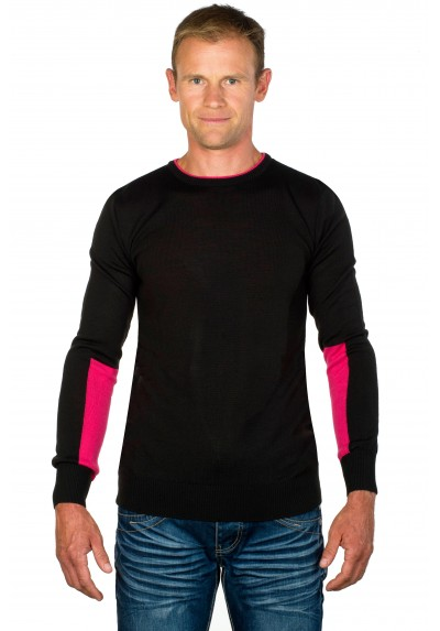 Pull homme col rond Willy noir/fushia