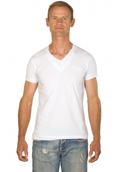 T-shirt uni col v blanc Atlanta