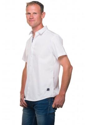 Chemise unie blanche manches courtes