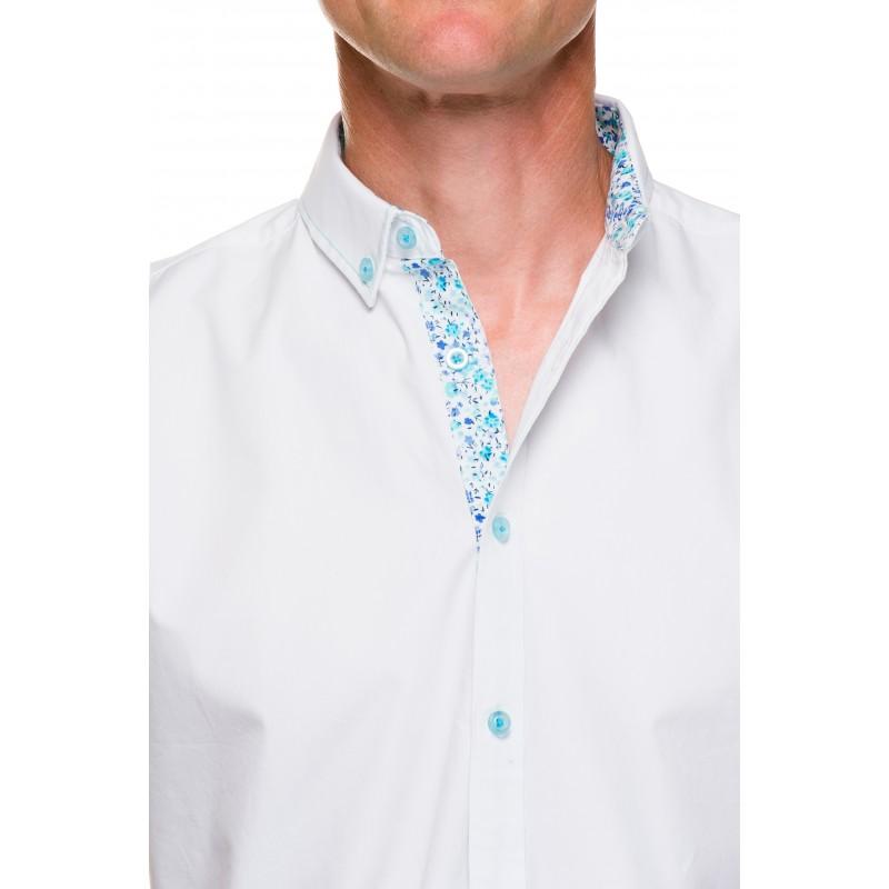 chemise unie blanche manches courtes motif fleurs ugholin. Black Bedroom Furniture Sets. Home Design Ideas
