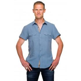 Chemise lin manches courtes bleu denim