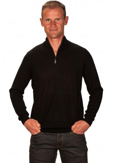 Pull cachemire homme 30% col zippé noir