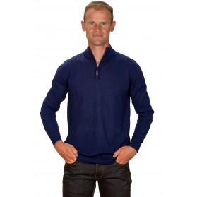 Pull cachemire homme 30% col zippé bleu électrique