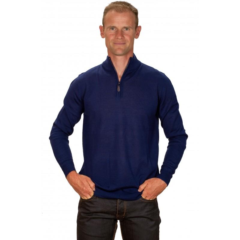 pull homme cachemire 30 col zipp bleu lectrique ugholin. Black Bedroom Furniture Sets. Home Design Ideas