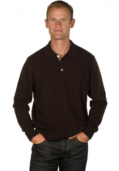 Pull cachemire homme 100% col polo marron