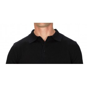 Pull cachemire homme 50% col polo noir
