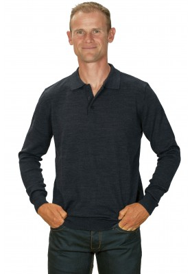 Pull cachemire homme 50% col polo gris anthracite