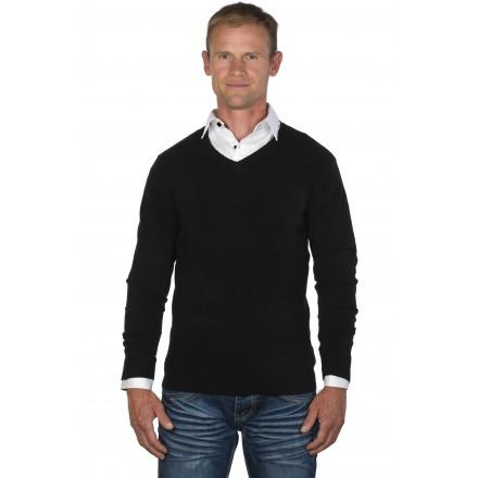Pull-chemise homme col V noir/blanc