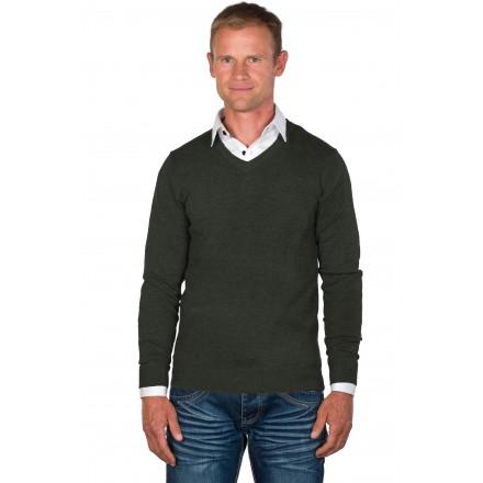 Pull-chemise homme col V Gris/Blanc