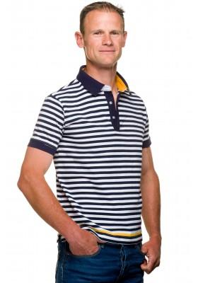 Polo mariniere homme jersey coton blanc/bleu