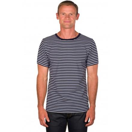 T shirt mariniere homme bleu/blanc manches courtes