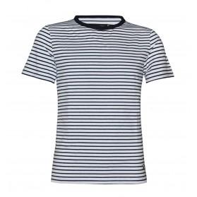 T shirt mariniere homme blanc/bleu manches courtes