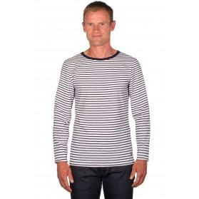 T shirt mariniere homme blanc/bleu manches longues