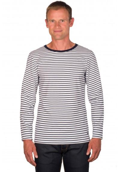 22024a6cbdf59 T shirt mariniere homme blanc/bleu manches longues