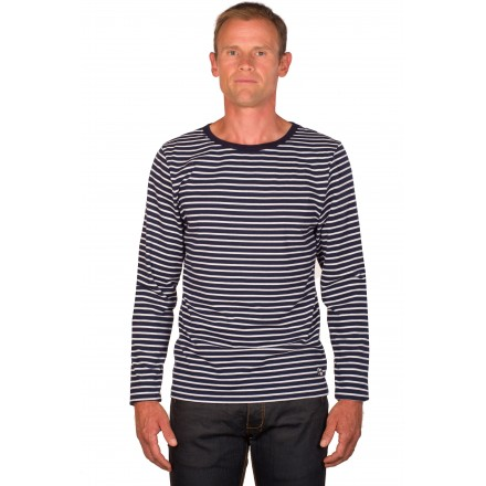 T shirt mariniere homme bleu/blanc manches longues