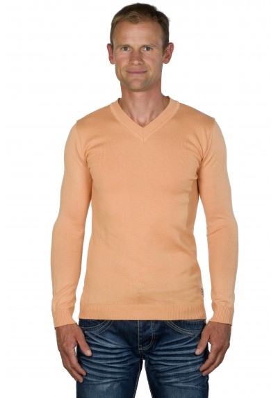 Pull col v homme abricot Massimo