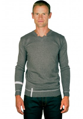 Pull col v homme gris Peter