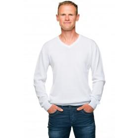 Pull blanc homme col v coton mercerisé