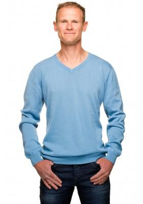 Pull col v homme bleu ciel coton mercerisé