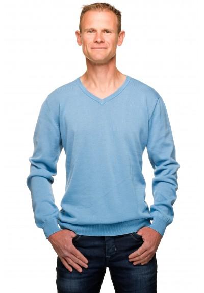92073cefd5b Pull col v homme bleu ciel coton mercerisé