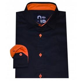 Chemise cintrée homme marron/orange Axel