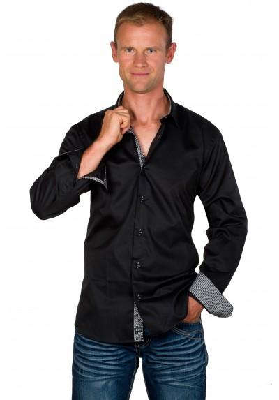 Chemise cintrée homme coton noire Tom