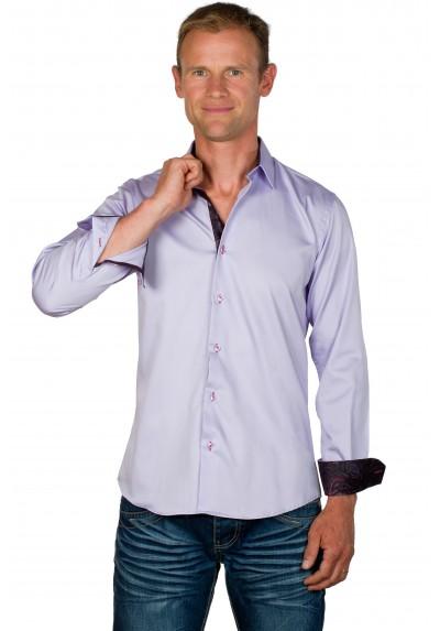Chemise cintrée homme coton lilas Tom