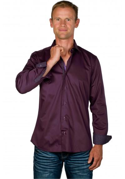 Chemise cintrée homme coton prune Dustin