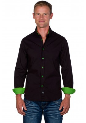 Chemise cintrée homme marron/vert anis Axel