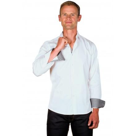 Chemise cintrée homme coton blanche galon gris