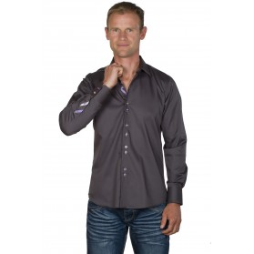 Chemise homme originale coton grise anthracite Andy