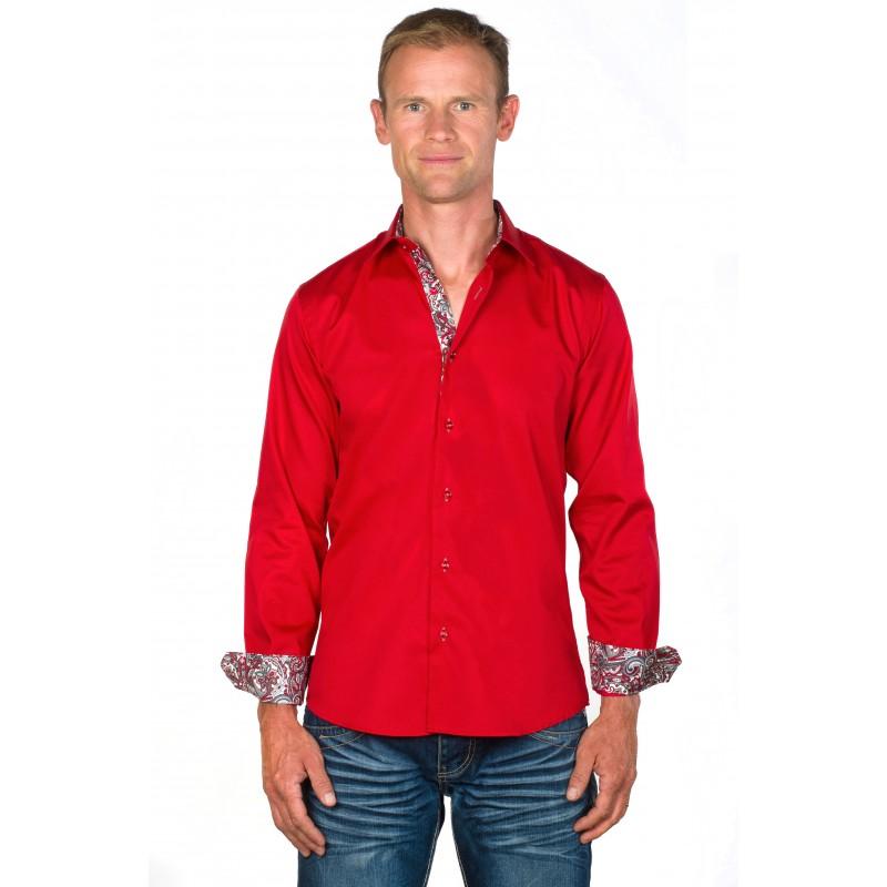 chemise homme coton rouge tom ugholin. Black Bedroom Furniture Sets. Home Design Ideas
