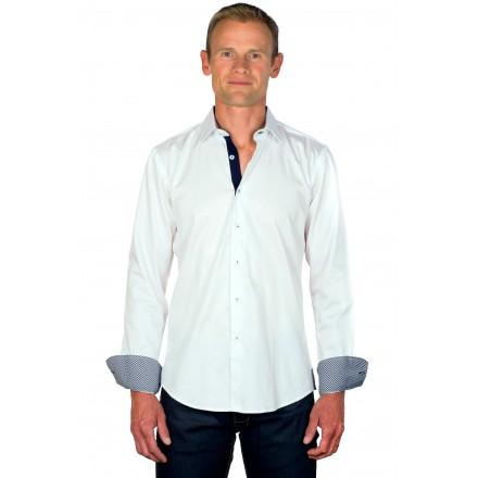Chemise homme originale coton blanche/vichy marine