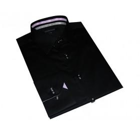 Chemise homme originale bicolore noire/lilas