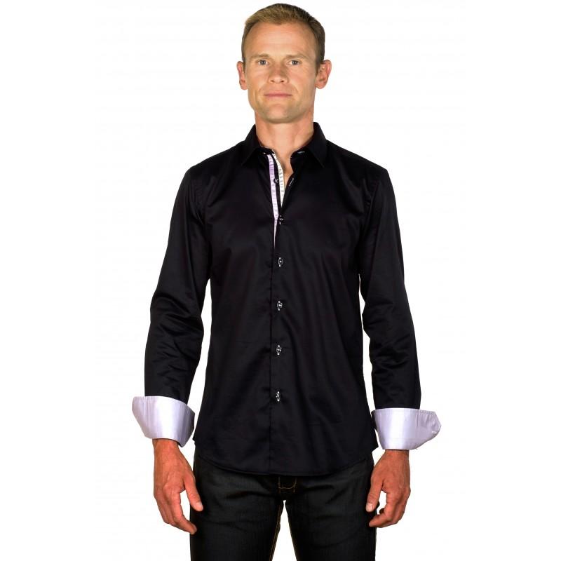chemise homme originale coton noire galons lilas et gris ugholin. Black Bedroom Furniture Sets. Home Design Ideas