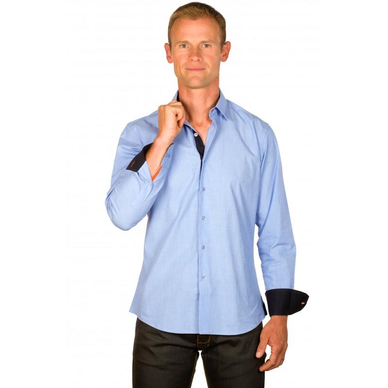 chemise homme originale bleu chambray galon orange ugholin. Black Bedroom Furniture Sets. Home Design Ideas