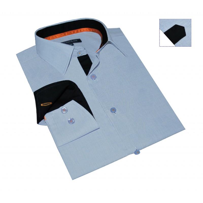 chemise-homme-originale-coton-bleu-chambray-galon-orange.jpg 21264ef2b4f