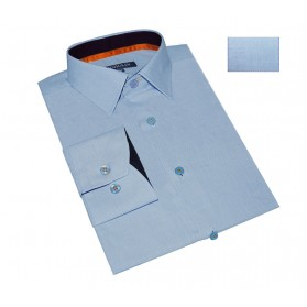 Chemise homme originale bleu chambray galon orange